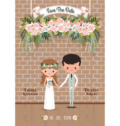 Cartoon couple rustic blossom flowers save the vector