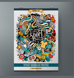 Cartoon hand drawn doodles sport poster template vector