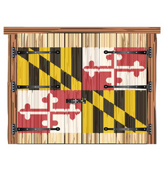 Closed barn door with maryland state flag vector