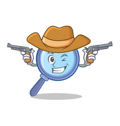 Cowboy magnifying glass character cartoon vector