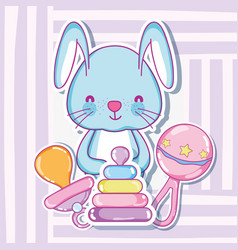 Cute bunny with baby toys cartoons vector