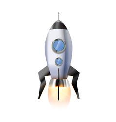 cute cartoon rocket with illuminators and hot vector image