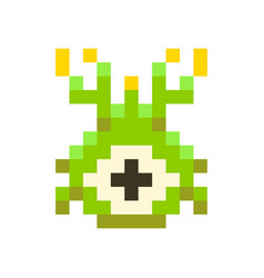 cute green space invader monster game enemy in vector image