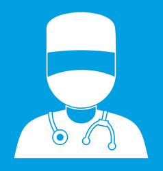 Doctor with mask icon white vector
