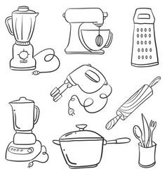 Doodle kitchen set art vector