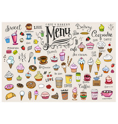 drawings various objects for cafes or bakery vector image