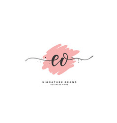 E o eo initial letter handwriting and signature vector