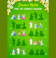 easter bunny shadows matching kids game or puzzle vector image