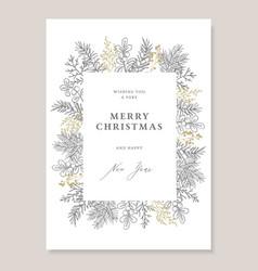 elegant christmas decorative vintage greeting card vector image