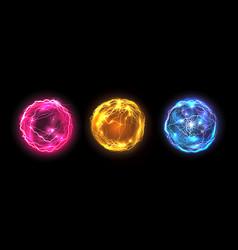 energy balls plasma sphere electric lightning vector image