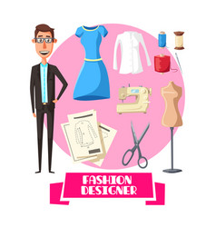 Fashion designer profession accessories vector