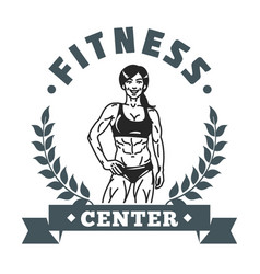 Fitness center girl logo image vector
