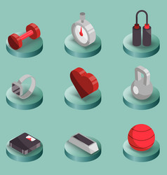 fitness color isometric icons vector image