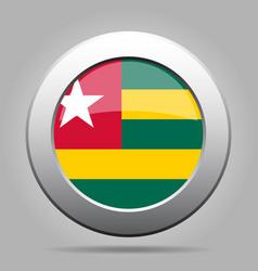 Flag of togo metal gray round button vector