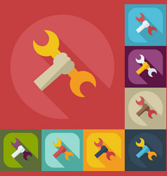 Flat concept set modern design with shadow wrench vector