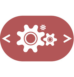 Flat paper styled icon of cogs vector