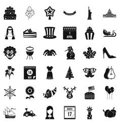 Folk festival icons set simple style vector