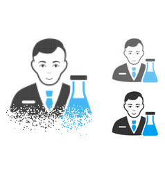 Fractured dot halftone chemistry man icon with vector