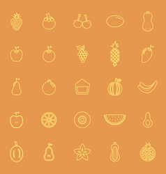 Fruit line color icons on orange background vector