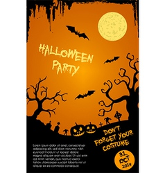 Halloween party flyer template - orange and black vector