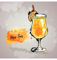 Hand drawn of cocktail mai tais vector