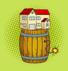 House on powder keg pop art vector