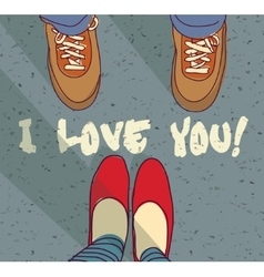 I love you sign young couple card vector image