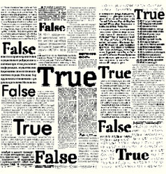 Image with words false and true vector