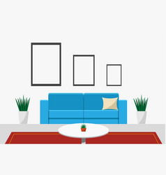 interiors living room front view vector image