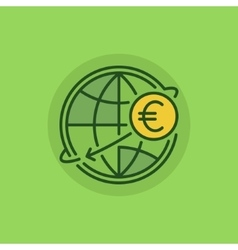International money transfer green icon vector