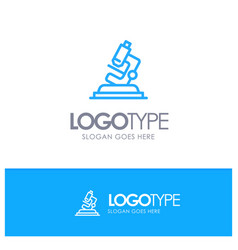 Lab microscope science zoom blue logo line style vector