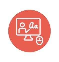 Laptop and mouse in online tutorial thin line icon vector image