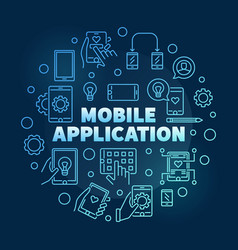 mobile application round blue outline vector image