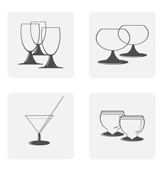monochrome icon set with glasses dishes vector image