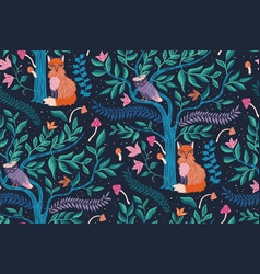 Mystic forest pattern seamless design vector