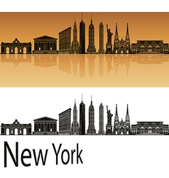 New york skyline in orange vector