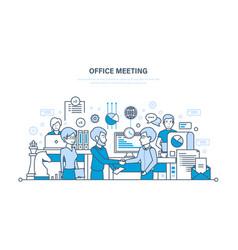 Office meeting workflow teamwork partnership vector