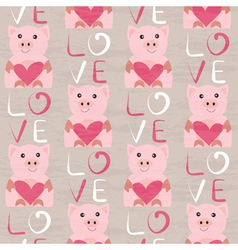 Pig with heart seamless pattern vector
