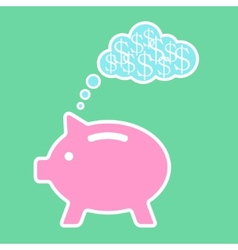Piggy bank dreaming about money vector