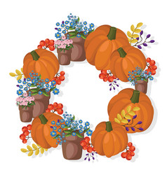 pumpkin and floral wreath decor autumn vector image