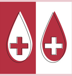 red blood drop icon in line desidn red blood drop vector image