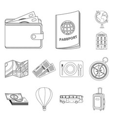 rest and travel outline icons in set collection vector image