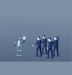 Robot showing group of people light bulb business vector
