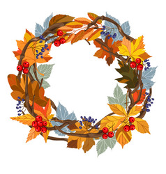 round wreath with leaves vector image