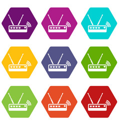 router icons set 9 vector image