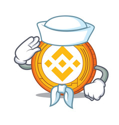Sailor binance coin character catoon vector