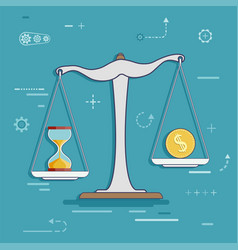 Scales with a dollar coin and hourglass vector