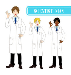 scientist man showing ok hand sign vector image