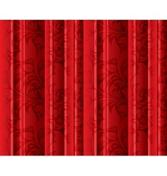 Seamless floral texture on the red curtains vector image
