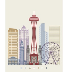Seattle skyline poster vector image